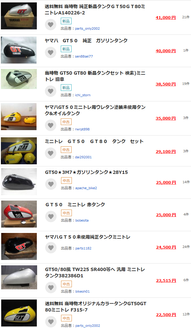 【YAMAHA】GT50 ミニトレフューエルタンク から分かってきた 約 40 年前に登場したレストア部品の高額取引と安定したレアな市場について
