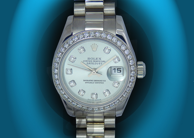 【ROLEX】DATEJUST LADY 179136G ロレックス デイトジャスト レディ 10Pダイヤ アイスブルー文字盤 ダイヤベゼル は女性に贈るプレゼントに最適なフラッグシップモデル