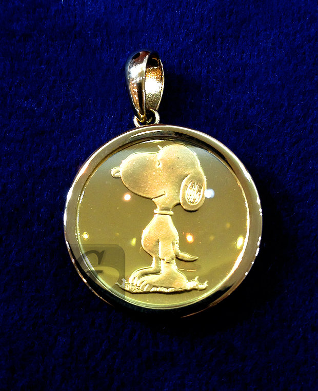 "【Peanuts】スヌーピー ""K18""イエローゴールド コイントップ Snoopy ""K18"" Yellow Gold Coin Top"